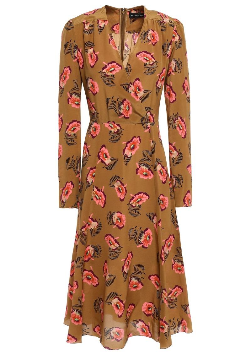 Etro Woman Wrap-effect Floral-print Silk Crepe De Chine Midi Dress Light Brown