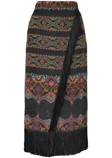 Etro Woman Wrap-effect Fringed Printed Jacquard Midi Skirt Black