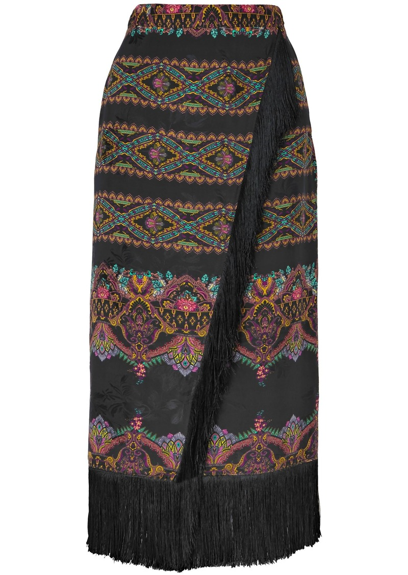 Etro Woman Wrap-effect Fringed Printed Jacquard Midi Skirt Black