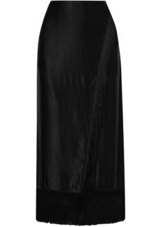 Etro Woman Wrap-effect Fringed Satin Midi Skirt Black