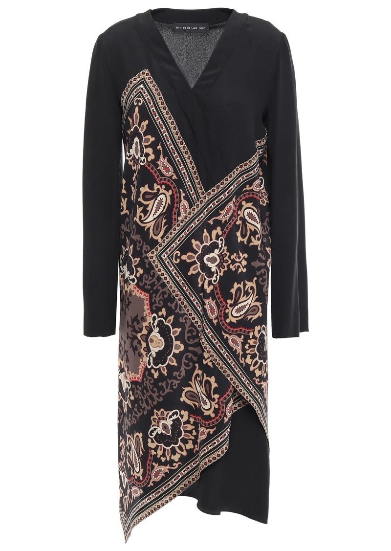 Etro Woman Wrap-effect Printed Silk Crepe De Chine Dress Black