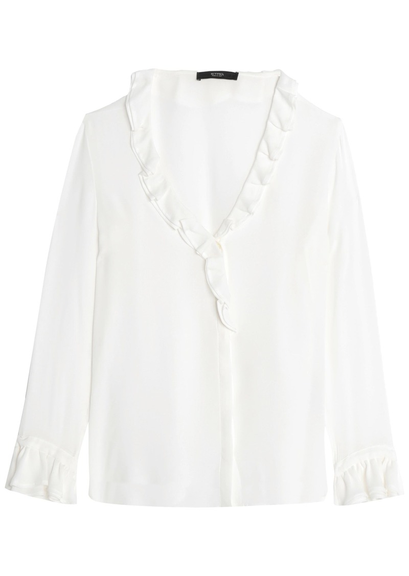 Etro Woman Wrap-effect Ruffled Silk-chiffon Blouse White