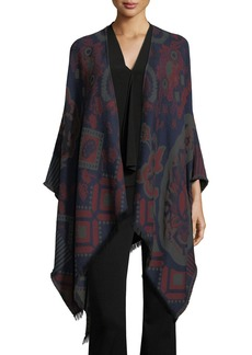 Etro Wool-Blend Cape w/ Fringe Trim