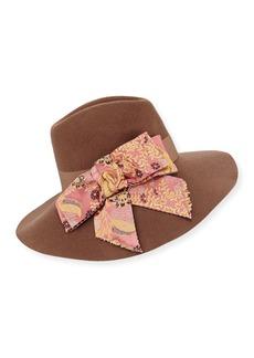 Etro Wool Hat w/ Paisley Bow