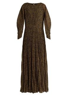 Etro Ying Yang micro-print pleated chiffon gown