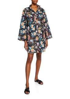 Etro Fern Floral Cotton Jewel-Button Dress