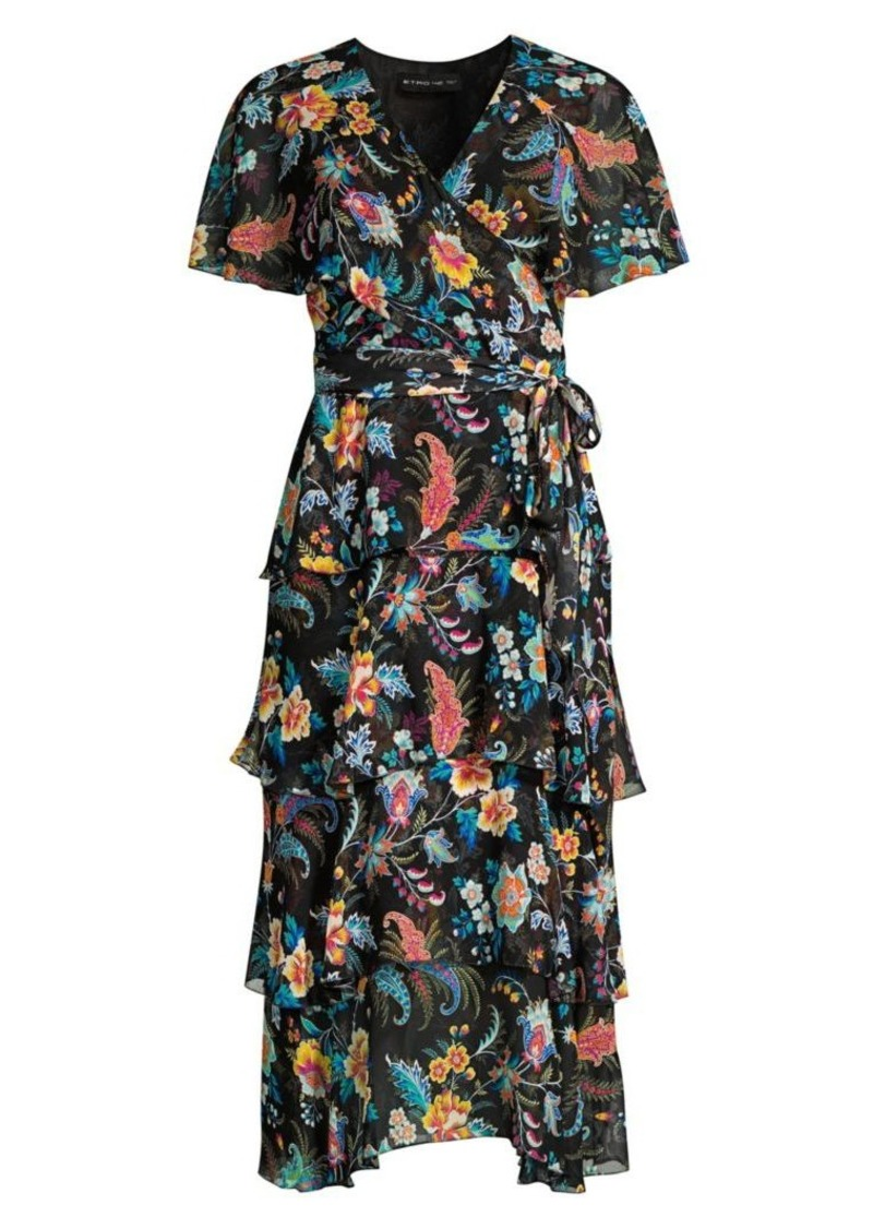 Etro Fern Floral Tiered Ruffle Silk Dress