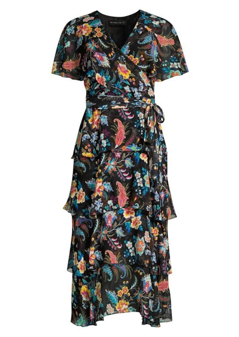 Etro Fern Floral Tiered Ruffle Silk Dress