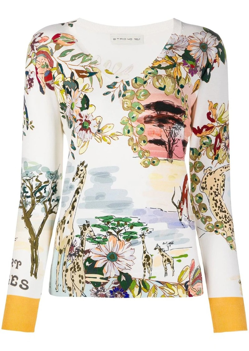 Etro fine knit floral print top