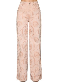 Etro Flared Cotton Denim Jacquard Jeans