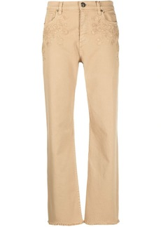 Etro floral-embroidered cropped jeans