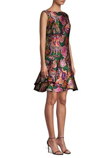 Etro Floral Jacquard Boatneck Dress