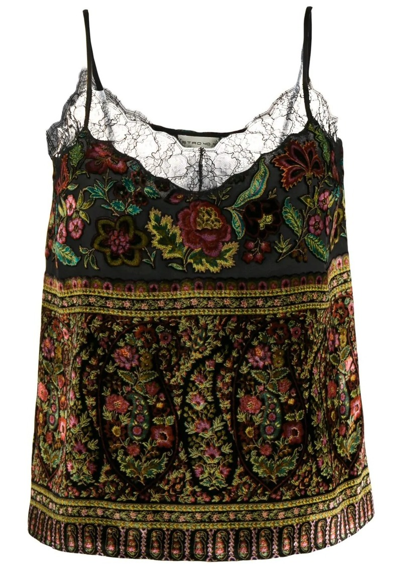 Etro floral lace detail cami top