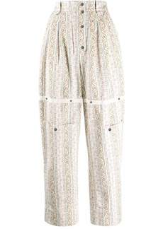 Etro floral paisley print twill trousers