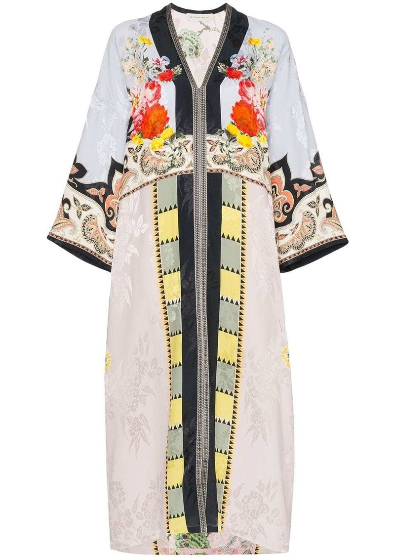 Etro floral print patchwork kaftan dress
