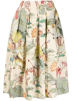 Etro floral-print pleated skirt