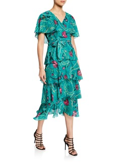 Etro Floral-Print Ruffled Georgette Dress