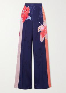 Etro Floral-print Satin-jacquard Wide-leg Pants
