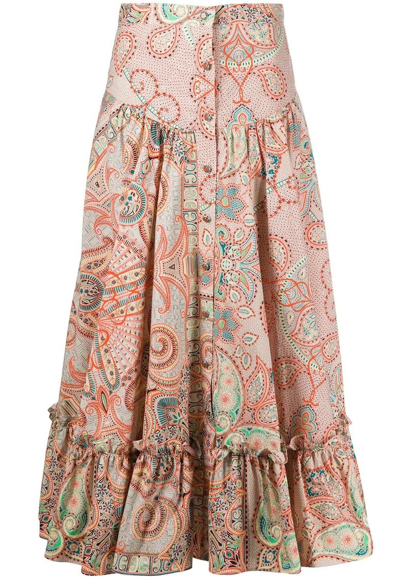 Etro floral print tiered midi skirt