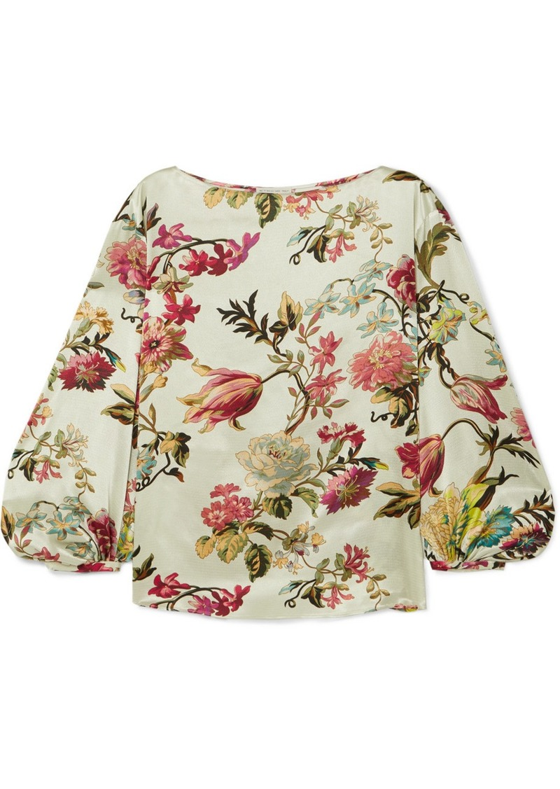 Etro Floral-print Washed-satin Top