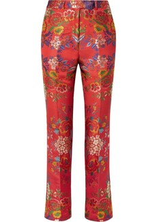 Etro Floral Satin-jacquard Slim-leg Pants