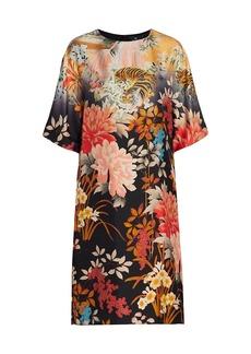 Etro Floral Silk Belted Shift Dress