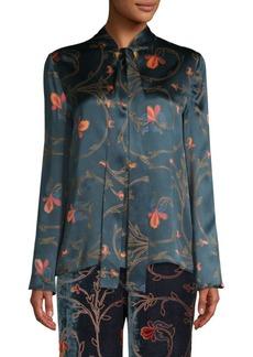 Etro Floral Tie-Neck Silk Blouse