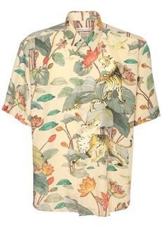 Etro Floral Tiger Printed Silk Shirt
