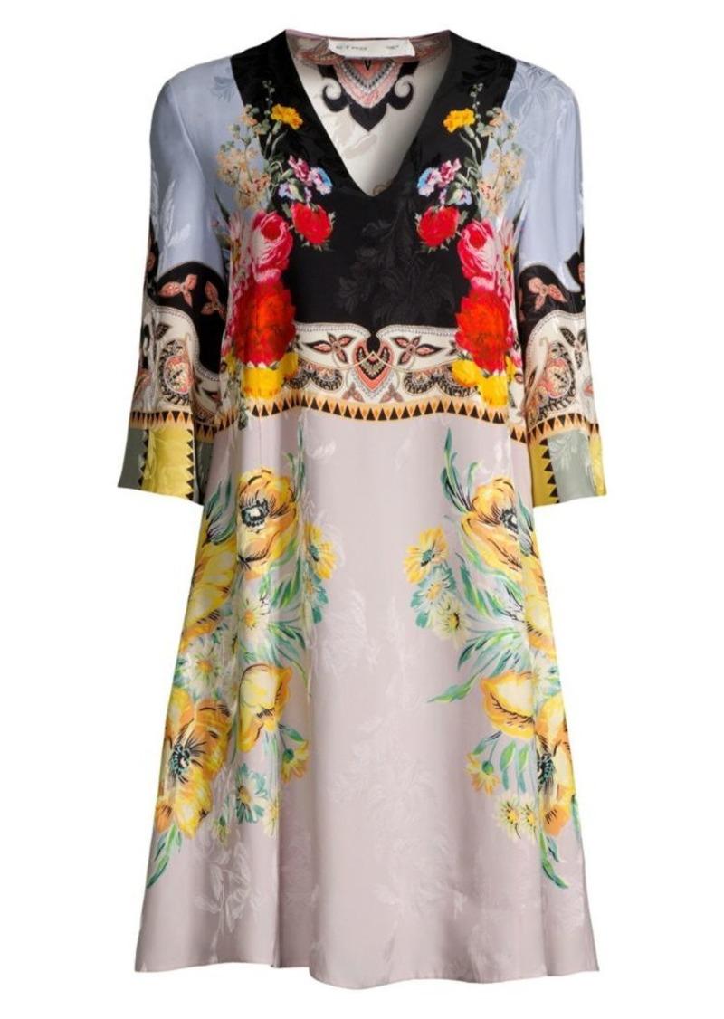 Etro Floral V-Neck Tunic Dress