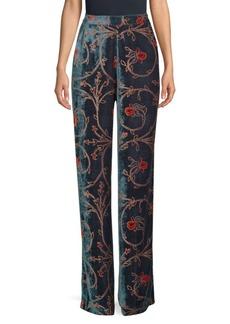 Etro Floral Velvet Wide-Leg Pants
