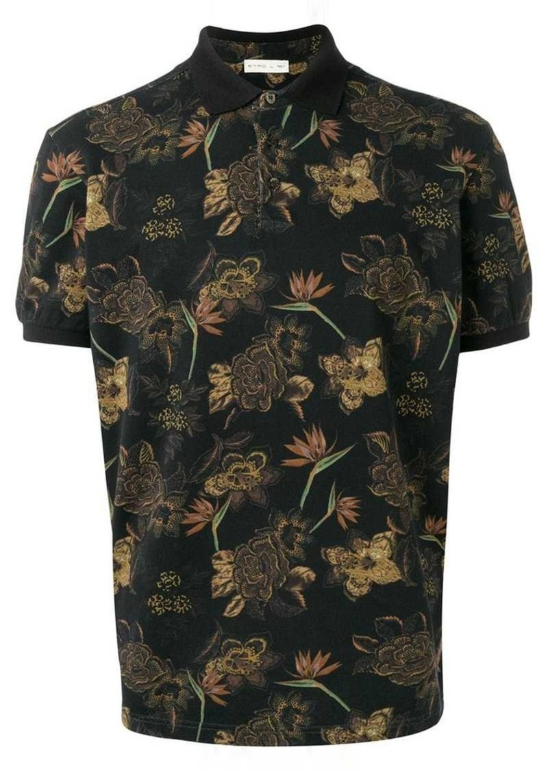Etro flower print polo shirt