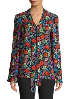 Etro Fluorescent Floral Tie Neck Blouse
