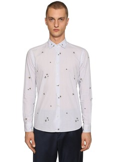 Etro Fly Print Striped Cotton Shirt