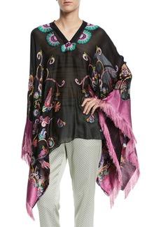 Etro Fringe-Trim Embroidered Silk-Chiffon Poncho