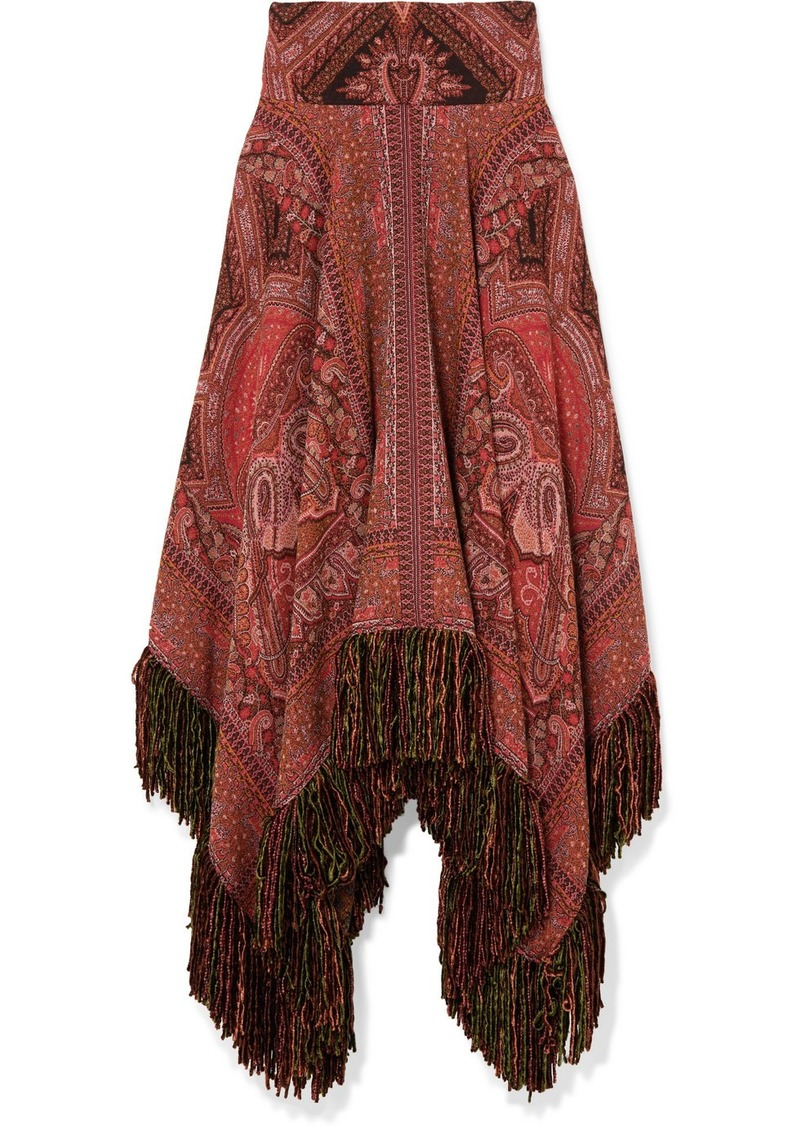 Etro Fringed Asymmetric Wool-jacquard Midi Skirt