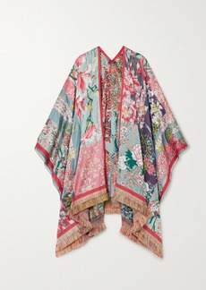 Etro Fringed Embroidered Patchwork Jacquard Wrap