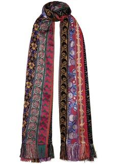 Etro Fringed jacquard, velvet and chiffon scarf