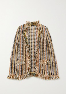 Etro Fringed Striped Knitted Cardigan