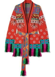 Etro Fringed Wool-blend Jacquard Cardigan