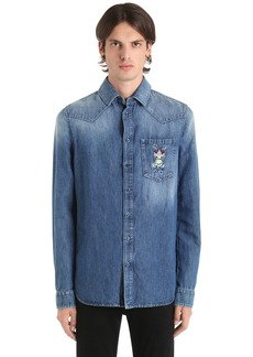 Etro Frog Embroidered Cotton Denim Shirt