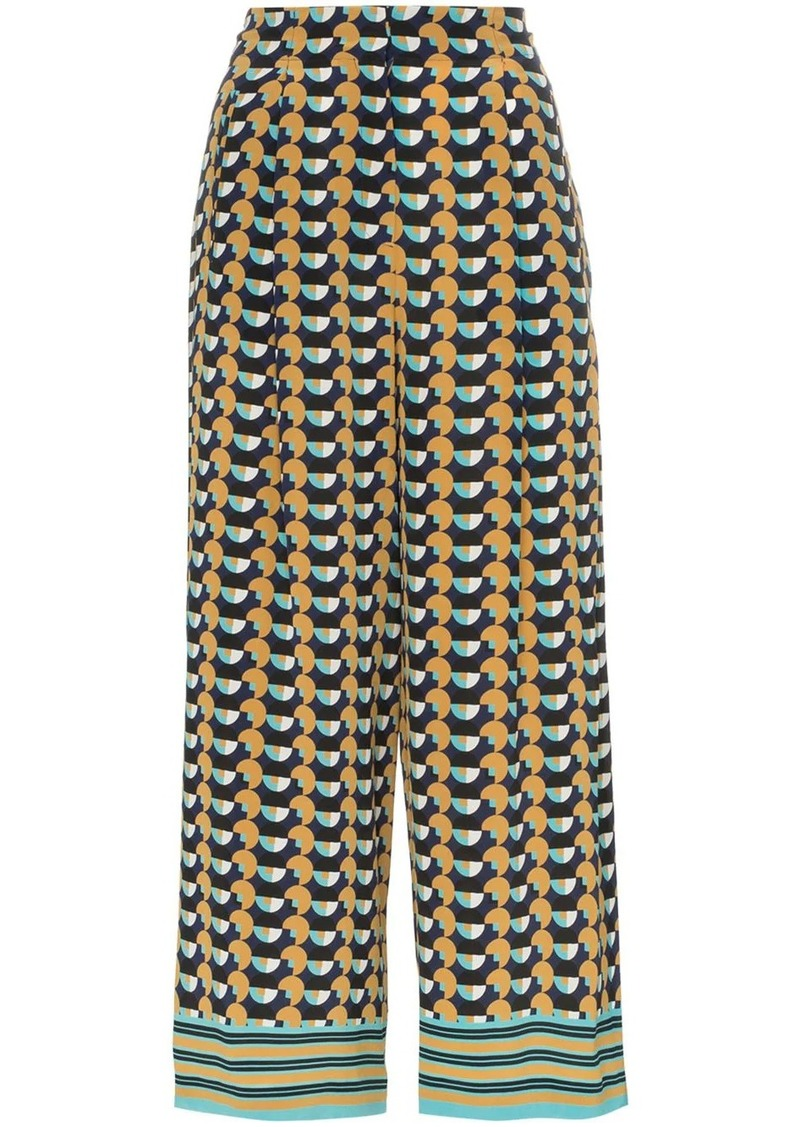 Etro geometric-print cropped silk trousers