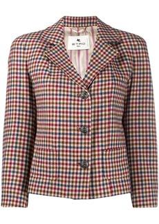 Etro gingham patterned cropped blazer