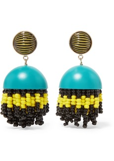 Etro Gold-tone, Enamel, Glass And Resin Clip Earrings