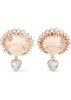 Etro Gold-tone, Shell, Faux Pearl And Crystal Clip Earrings