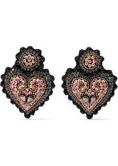 Etro Heart-shaped Felt, Crystal And Bead Clip Earrings