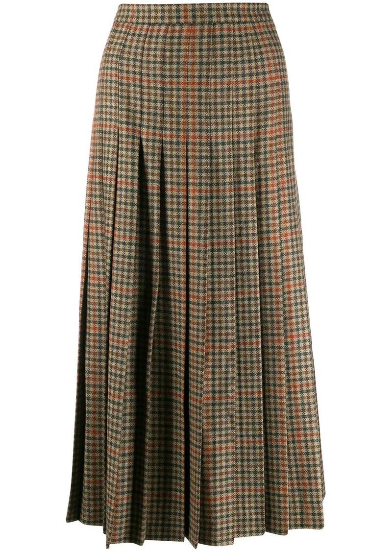 Etro houndstooth tweed pleated skirt