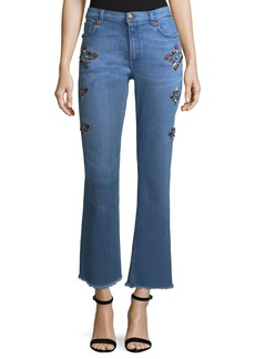Etro High-Rise Flare-Leg Jeans w/ Studs