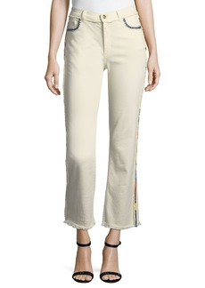 Etro High-Rise Straight-Leg Raw-Hem Denim Jeans w/ Multicolor Trim