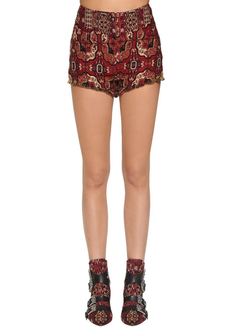 Etro High Waist Intarsia Jacquard Shorts
