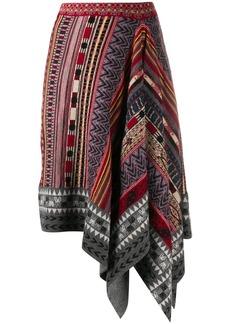 Etro intarsia-knit asymmetric skirt